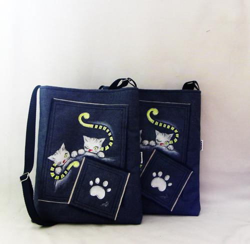 džínová crossbody s kočičáky-VÝPRODEJ-333KČ