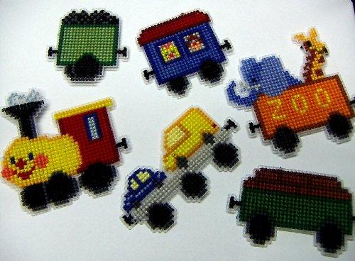Vyšívané magnetky - mašinka a pět vagónků