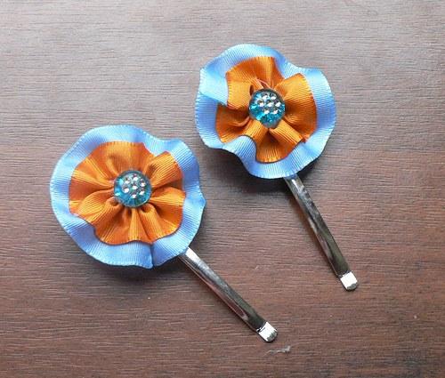 Sponky stuha - modrá, oranžová