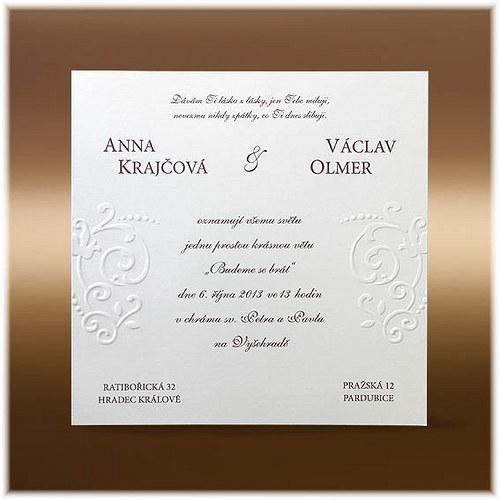Jednoduché svatební oznámení s ornamenty