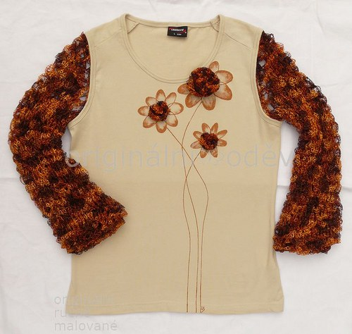 Malované tričko dámské - květy - béžové
