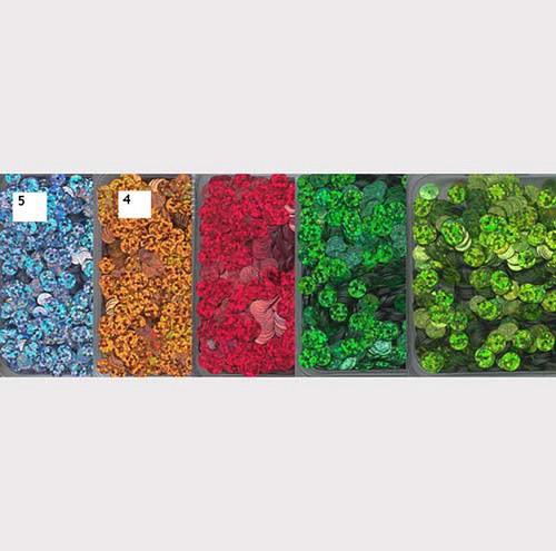 Flitry 5 mm  -mix 5 barev - třpytivé - bal. 5x5g