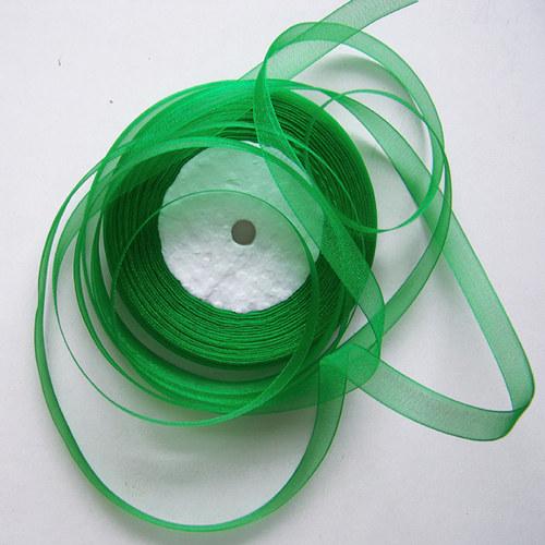 stuha šifonová / 10mm / zelená /  1m