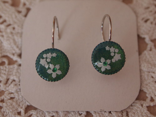 Smaragdově zelené s kytičkama