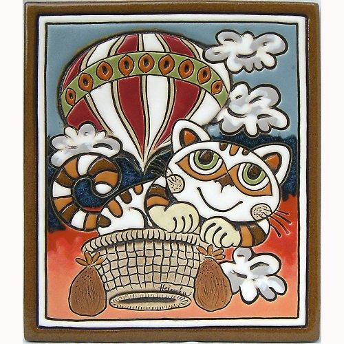Keramický obrázek - Kočka a balon K-101-N-R