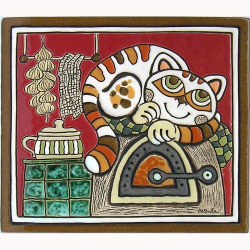 Keramický obrázek - Kočka na peci K-107-CE