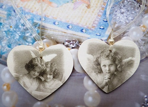 Dekorační srdíčko  - vintage andílci - cena za kus