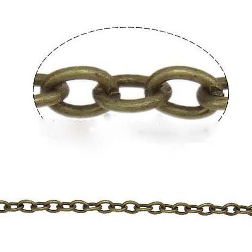 Řetízek Oválný 3,8x2,8 - 1m - Bronzový