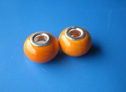 Korálky vinuté 2ks - oranžové