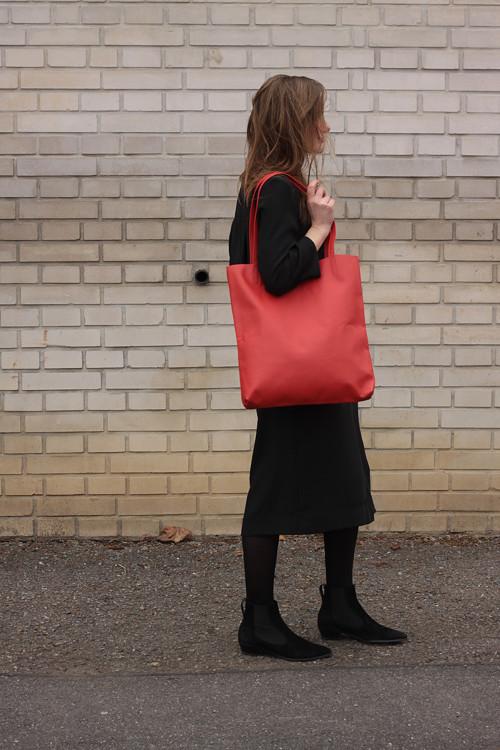Velká kožená taška, červená