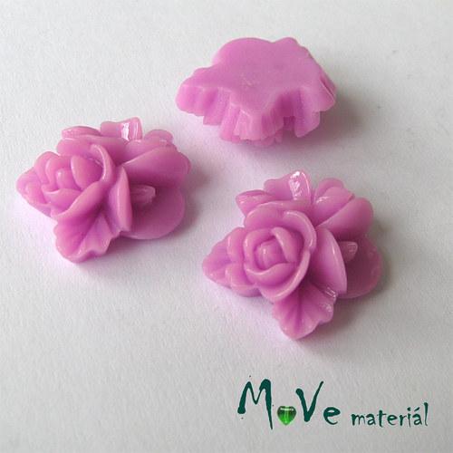 Kabošon květy lesklý A8 resin - 2ks, růžovofialový