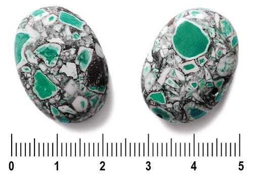 Zelené zlomkové oválky, 19 × 27 mm, 1 ks