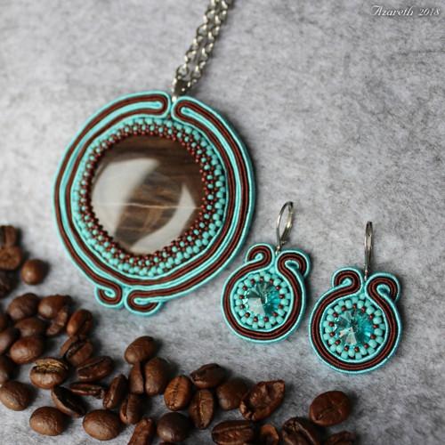 Souprava Káva v tyrkysu se zkamenělým dřevem