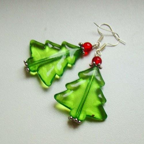 náušnice vánoční stromečky