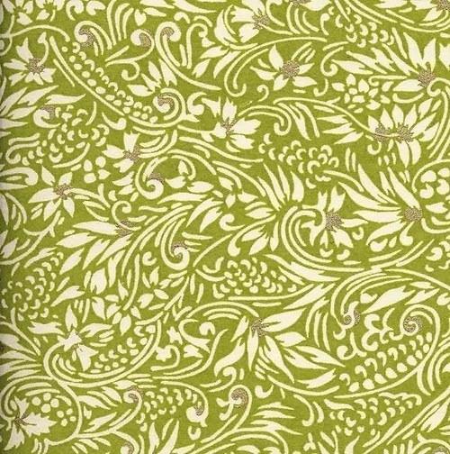 Handmade papír - Zelenosmetanové ornamenty