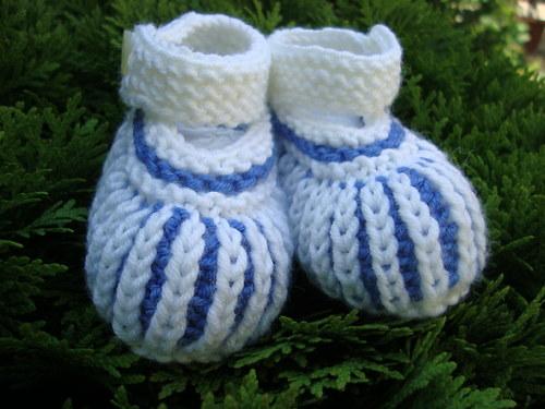 Pletené MERINO bačkůrky - modré