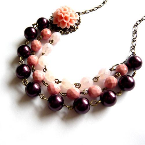 Romantický třířadý náhrdelník vínová a cihlová
