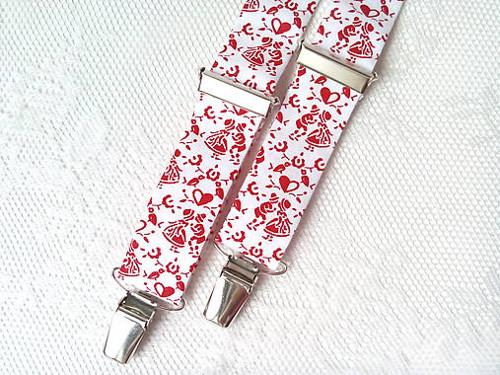 Suspenders for kids (I love slovak folklore/red)