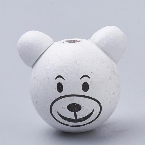 AKCE Dřevěná hlava medvídek Ø28mm (1ks) - bílá