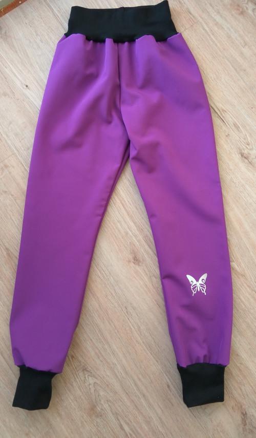 dětské zimní softshellové kalhoty - fialová