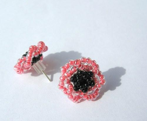 Puzetové náušnice růžové