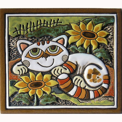 Keramický obrázek - Kočka a slunečnice K-125-Z