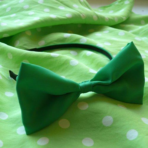 Zelená čelenka s maxi mašlí