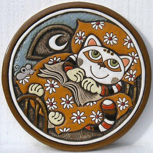 Keramický obrázek - Kočka v peřině K-132-O