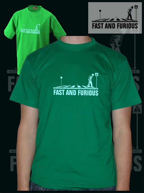 Pánské zelené tričko fast and furious