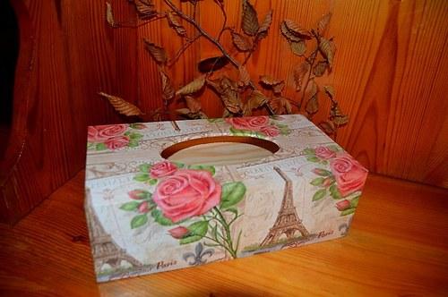 Krabička na kapesníky - Paříž s růžemi