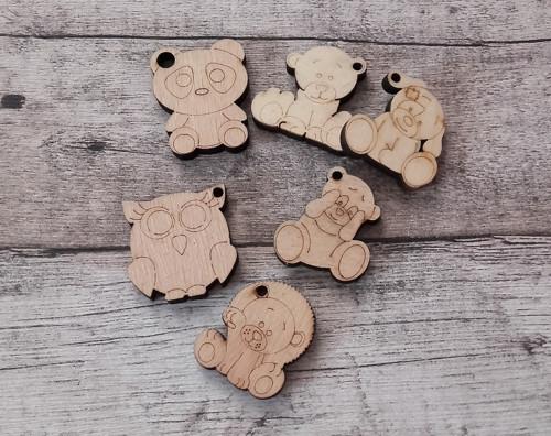 Dřevěná zvířátka - klíčenky 3 cm