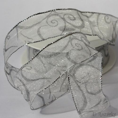 Stuha monofilová-šíře 2,5 cm, stříbrná