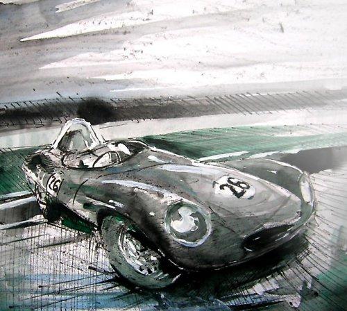 Akvarel, Jaguár D-Typ, Moderní obraz