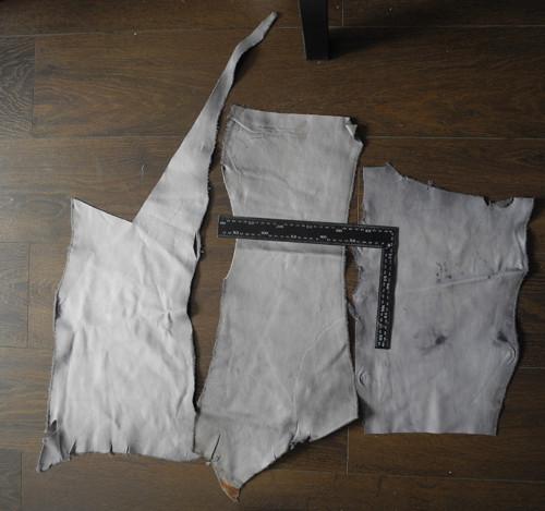 Odřezky kůže 1,5-2mm - šedá 3 kusy  (H7)