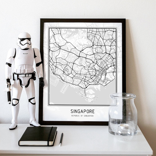 Plakát - mapa Singapur