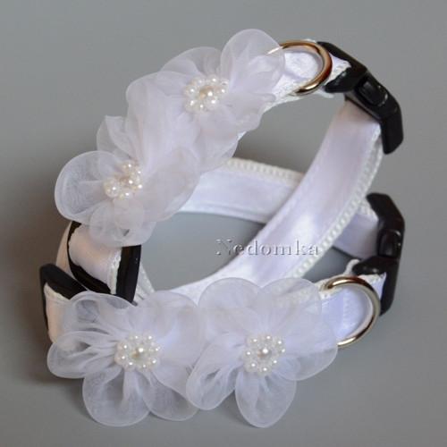 Svatební obojek saténový Bílý s kytičkami