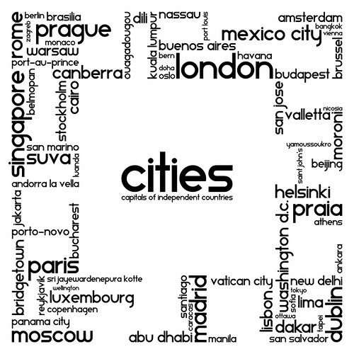 ...cities 90x90cm - tisk na malířské plátno...