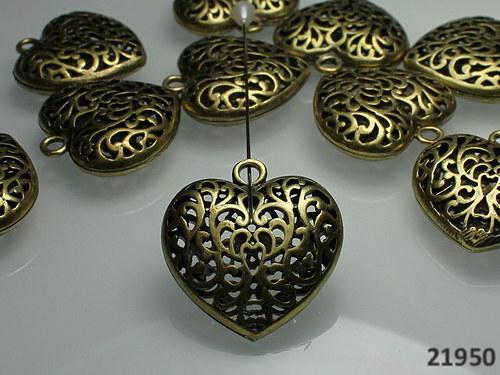 21950 Vintage přívěšek MAXI SRDCE bronz, á 1ks