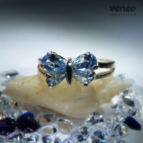 Motýlek - prsten s akvamaríny