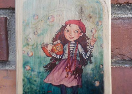 Dřevěný obrázek - Děvčátko v říši divů