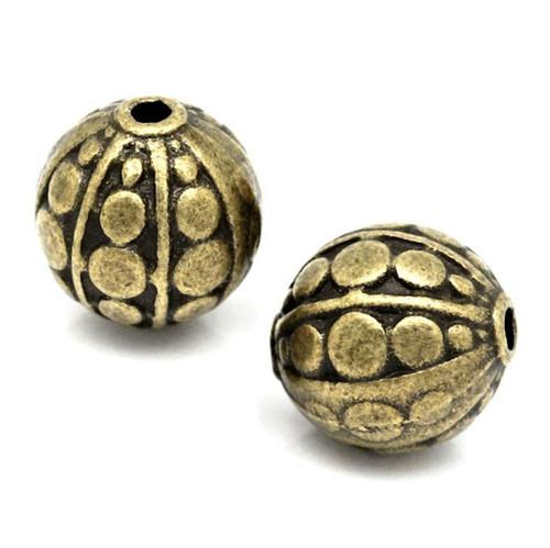 Velké bronzové korálky ozdobné, 2 kusy