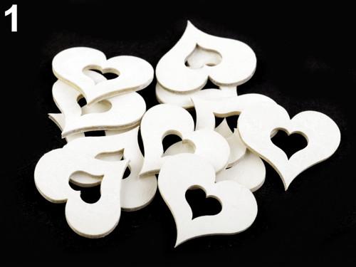 Dřevěné srdce 35x40 mm - bílá (6ks)