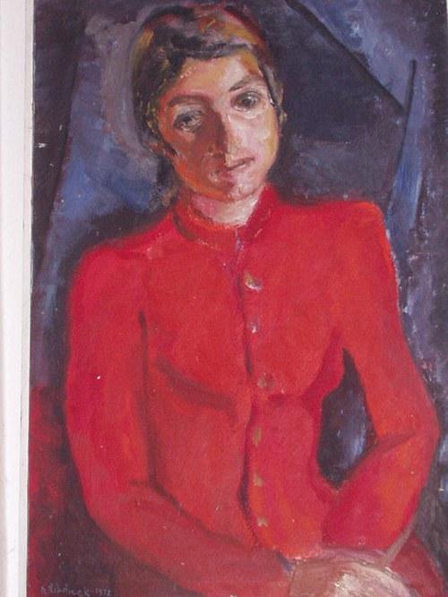 obraz ženy v červeném