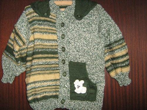 pletený kabátek / svetr  s kapucí