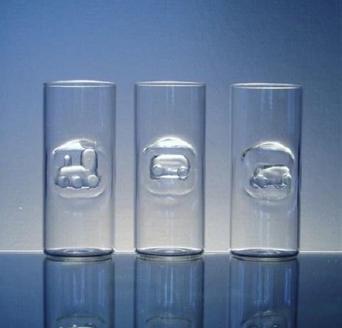 skleničky s mašinkou a vagónky CENA  za 1 ks