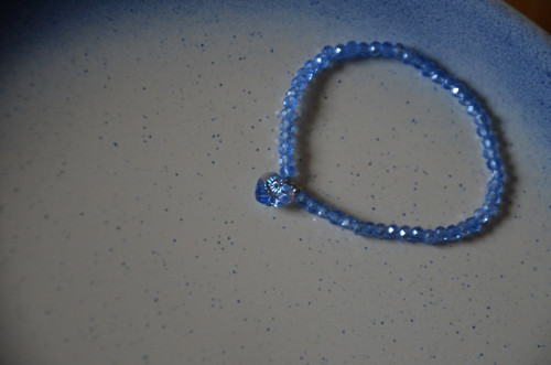 Swarovski přívěsek srdce a modré broušené sklo