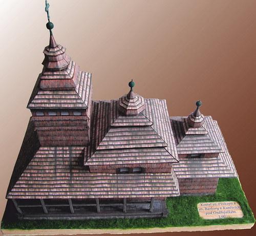 Papírový model - dřevěný kostelík v Kunčicích p.O.