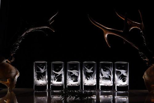 6x rytí skla na sklenice na likér 40 ml - lovecké