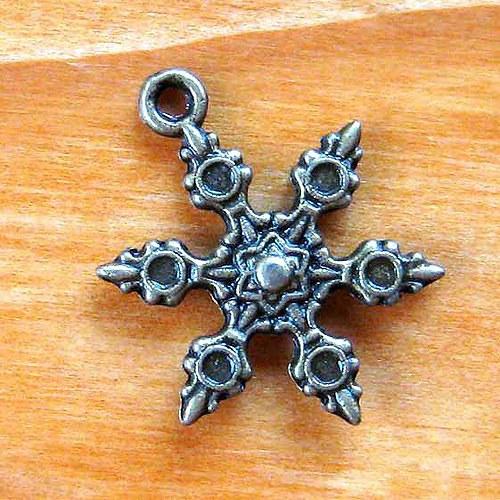 Sněhová Vločka s Kulatými Lůžky - 2ks - Bronzová