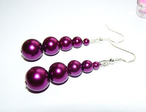 669.náušnice  fialové perly